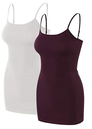 sixth avenue 2 Pack Womens Basic Long Length Adjustable Spaghetti Strap Cami Tank Top Camisole (S~3XL) White/Purple 3XL