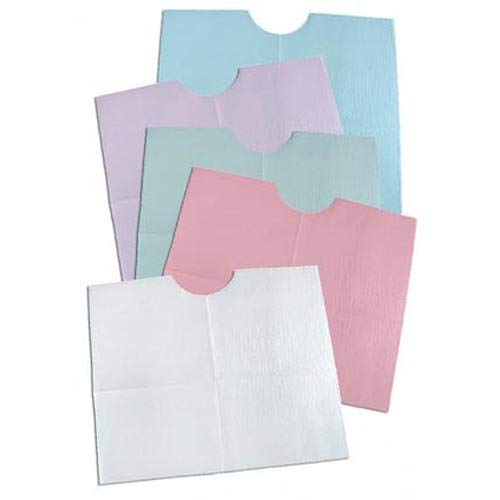 TIDI Products 917901  Contour Bib, 3-Ply Tissue, Poly-Back, 18'' x 22'' Size, White (Pack of 400)