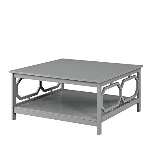 - Convenience Concepts 203263GY Omega Square Coffee Table, 36-inch, Gray,