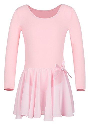 - YEEIC Girls Team Basic Long Sleeve Leotard with Skirt Kid Dance Ballet Tutu Dress (Pink, 2-4)