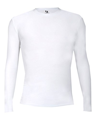 - Badger Sport White Youth Large Pro-Compression Long Sleeve Crew Performance Sports Poly/Spandex Shirt