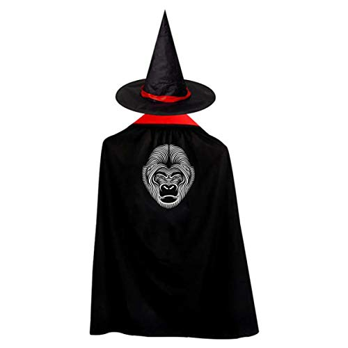 Halloween Children Costume Gorilla Wizard Witch Cloak Cape Robe And Hat Set -
