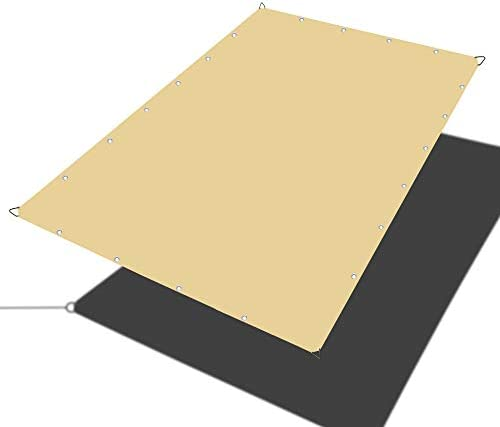 Alion Home Waterproof Rectangle Sun Shade Sail Straight Edge Canopy Cover with Grommet for Pergola Patio Gazebo Carport Outdoor Car Tent 10 x 14 , Desert Sand
