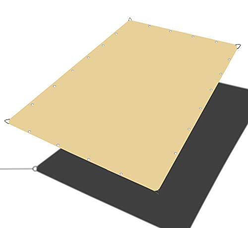 Alion Home Waterproof Rectangle Sun Shade Sail Straight Edge Canopy Cover with Grommet for Pergola Patio Gazebo Carport Outdoor Car Tent 10 x 12 , Desert Sand