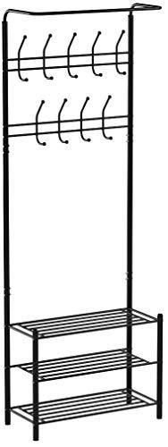 HOMFA Metal Entryway Coat Shoe Rack 3-tier Shoe Bench with Coat Hat Umbrella Rack 18 Hooks (Black)