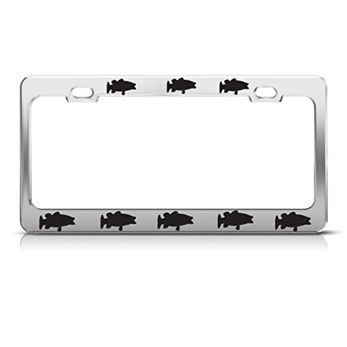 Bass Fighting - B.Fighting Bass Fish Personalized Chrome Black License Plate Frames Metal Auto Stainless Car Tag Holder Plate Frame for Womens US(Chrome/Black)