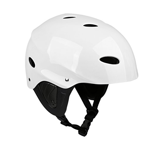 MagiDeal Lightweight Vented Water Sports Safety Helmet Kayak Canoe Boat Surf Hard Cap with Ear Protective Pads - CE Certified
