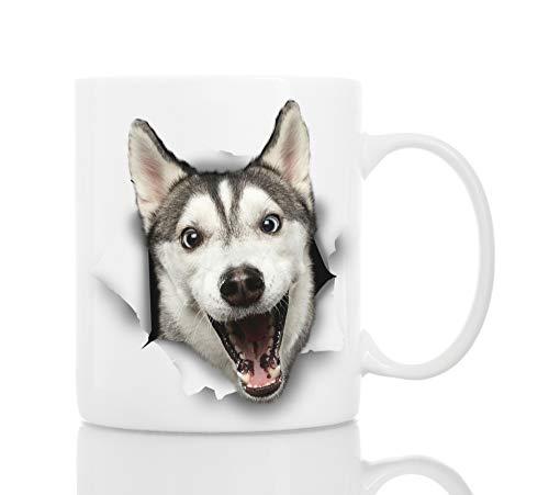 (Funny Husky Dog Mug - Ceramic Funny Coffee Mug - Perfect Dog Lover Gift - Cute Novelty Coffee Mug Present - Great Birthday or Christmas Surprise for Friend or Coworker,)