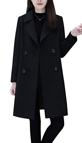 chouyatou Women's Basic Essential Double Breasted Mid-Long Wool Blend Pea Coat (Large, Black)