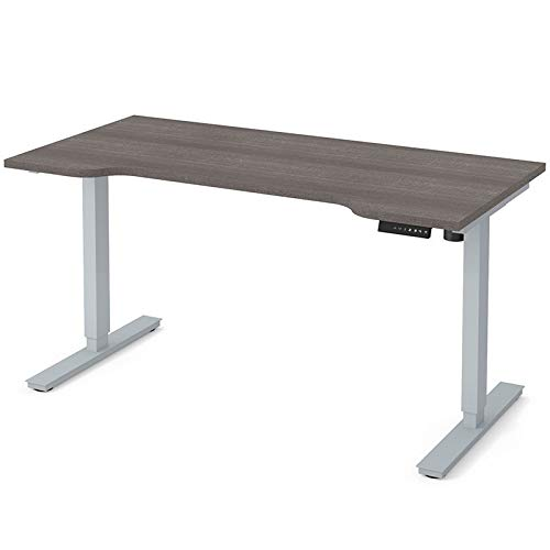 Curved Electric Height Adjustable Table in Bark Gray