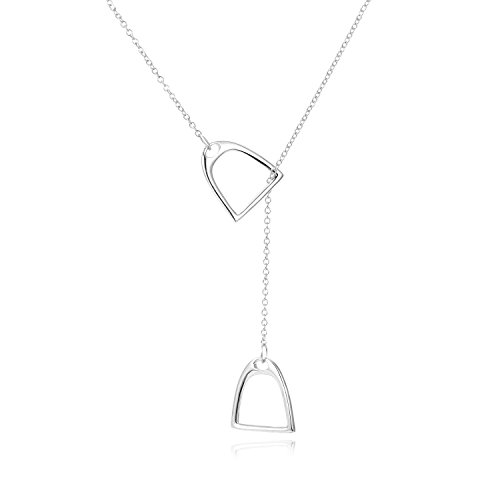 YFN Jewelry 925 Sterling Silver Simple Double Horse Stirrup Lariat Necklace Gift Mother Day Jewelry 18
