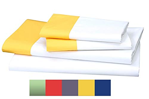 ONE PARK LINENS Organic Cotton Sheet Set GOTS Certified – Percale Eco Friendly, Luxurious and Soft - Queen, White with Modish Citrine