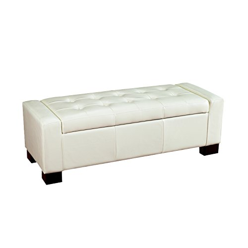 DecentHome Leather Rectangular Storage Bench Ottoman Footstool (Cream White)