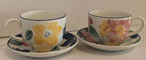 (JOHNSON BROTHERS England Marie OVERSIZE Cup & Saucers 3 3/8