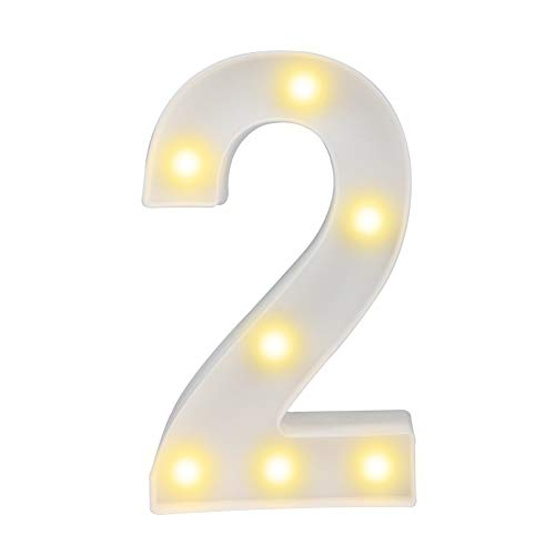 Pooqla Decorative Led Light Up Number Letters, White Plastic Marquee Number Lights Sign Party Wedding Decor Battery Operated Number (2) ()