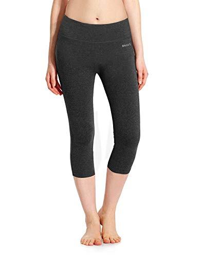 Baleaf Women's Yoga Capri Pants Workout Running Legging Inner Pocket Charcoal Gray Size M