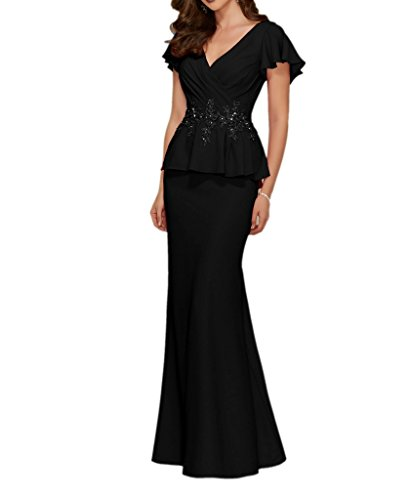 La Trumpet ausschnitt Abendkleider Elegant Stickreien Chiffon mia Neuheit Braut Partykleider Bodenlang Schwarz Brautmutter V rC4xXwrvq