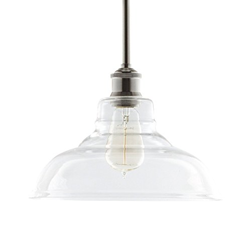 Lucera Stem Mount Factory Pendant Light. Brushed Nickel Fixture with 11-inch Clear Glass Shade, Adjustable Hanging Height, Modern Vintage Farmhouse Kitchen Lamp. UL Listed Linea di Liara LL-P431-BN (Pendant Light Fixtures For Kitchen)