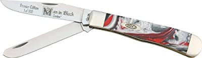 Case Cutlery 9254MB Man in Black Corelon Trapper Pocket Knife with Stainless Steel Blades, Black, Red and White Mixed Corelon