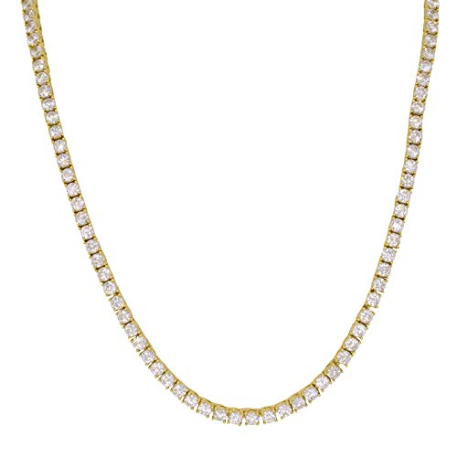 Yellow Gold-Plated Sterling Silver Round Cut Cubic Zirconia 3mm Wide 1 Row Tennis Chain Hip Hop Necklace (20)