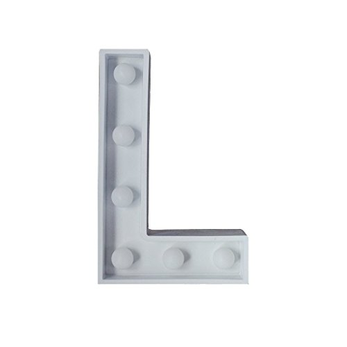 Ankit Letter L Marquee Light White, Plastic, AA Battery with
