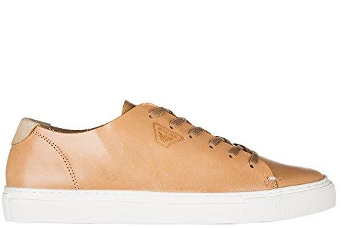 Armani Jeans zapatos zapatillas de deporte hombres en piel nuevo marrón