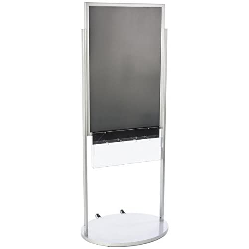 """Wholesale 24"""" x 36"""" Poster Stand, Double Sided, with 5 Pocket Brochure Holder, Aluminum (Silver) hot sale"""