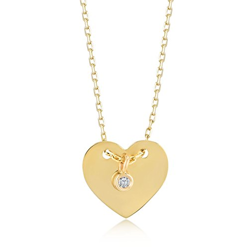 14k Solid Gold 0,01 ct Diamond Heart Pendant Necklace for Women, A Perfect Surprise Gift for Her, 18 inch