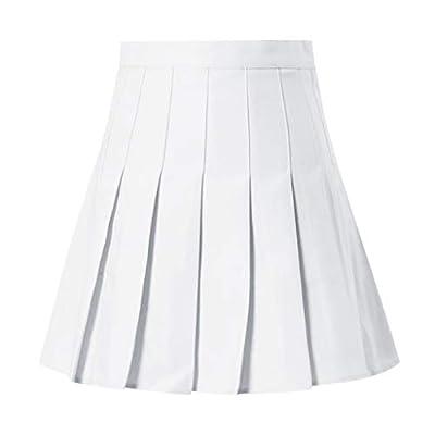 jin&Co Women's Pleated Skirt High Waist Basic Versatile Stretchy Flared Casual Mini Skater Skirt: Clothing
