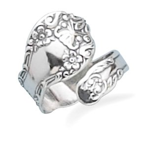 Oxidized Floral Spoon Ring Silvertone