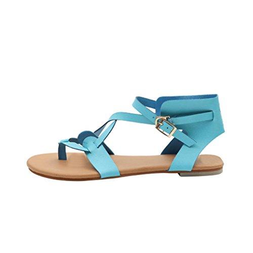 Round Sandalen Atmungsaktive Strand Rom Lace Casual Mode Sommerschuhe Blau Flache Damen Sandalen up VJGOAL Damen Toe 5UqawIz