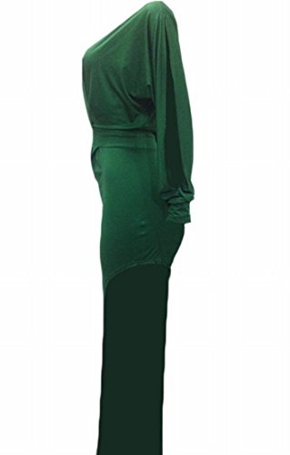 Club Dress Deep Shoulder Domple Split Asymmetric Sexy Neck Green Cold V s Women qw8T8IAP