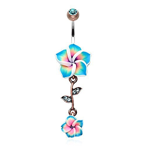 - WildKlass Jewelry Vintage Hawaiian Plumeria Belly Button Ring 316L Surgical Steel (Copper/Aqua/Teal)