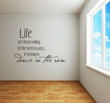 Decal – Vinyl Wall Sticker : DISCOUNTED SALE ITEM - LIFE Isn't About Waiting For The Storm To Pass … It's Learning To DANCE IN THE RAIN Inspirational Quote – Teen Bedroom Living Room Home Decor Peel & Stick - Size : 16 Inches X 12 Inches - 22 Colors Avail