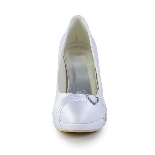 Minishion Minishion-ayl433 Womens Stiletto Høy Hæl Sateng Kveld Party Sko Brude Bryllup Plisserte Pumper White-10cm Hæl