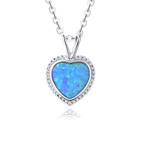 Fancime Sterling Silver Blue Created Opal Pendant Necklace Gold Plated Shinning Women Heart Necklace 16+2'' ()