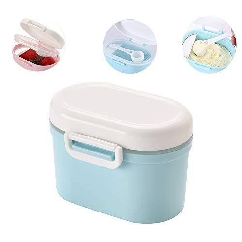 Travel Milk Powder Storage Box with Spoon, YEEHO Portable Formula Dispenser with Scoop Airtight BPA Free Small Container Case Easy go Sealed Flour Case,Blue