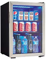Danby DBC026A1BSSDB 95 Can, 2.6 Cu.Ft Center, Glass Door Beverage Chiller for Pop, Beer, Drinks, Packs, Black/Stainless-Steel