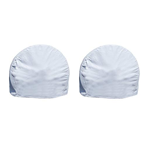 "Dumble White RV Tire Covers Set of 2 for 24"" to 26"" Inch Tires - Camper Wheel Covers, Wheel Protector 2-Pack"