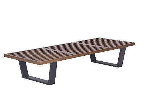 (Emorden Furniture George Nelson Platform Bench (3, Wooden Entryway Bench in Painted Ash Wood, Fits for Living Room, Bedroom, Dressing Room etc. (Dark Walnut, 6 Feet 3 Slat))