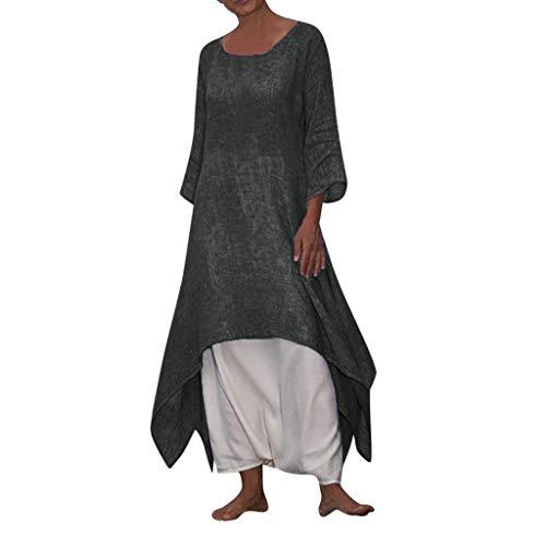 Ballad Women's Vintage Cotton Linen Dress Boho Casual Long Sleeve Beach Dresses Plus Size Solid Sunscreen Long Dress Gray (Tom Brown Tracker Knife Sheath For Sale)