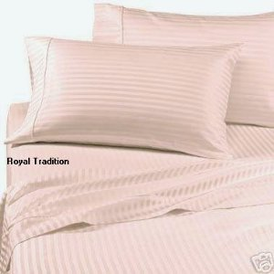300 Thread Count Stripes Blush Twin Extra Long Size Sheet Set (Twin Sheets Xl Blush)