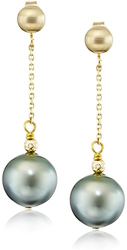 Tin Tahitian Cup Pearl (14k Yellow Gold 9-9.5mm Black Round Tahitian Cultured Pearl Tin Cup Wire Stud Dangle Earrings)