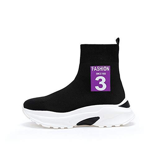 Tqgold Zapatillas De Negro Cuña Wedge 6cm Mujer Altas Zapatos Para Calcetín Tacón Sneakers Deporte BxBawrFd