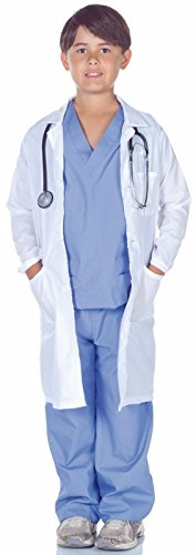 Underwraps Children's Doctor Scrubs With Lab Coat Costume Set, Blue/White, Large -