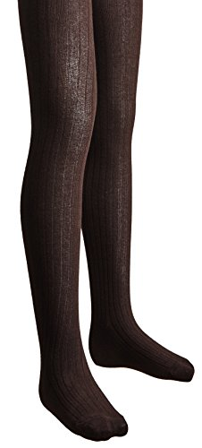 Sportoli Girls Ribbed Cotton Hold and Stretch Footed Winter Tights - Brown (size 8/10)