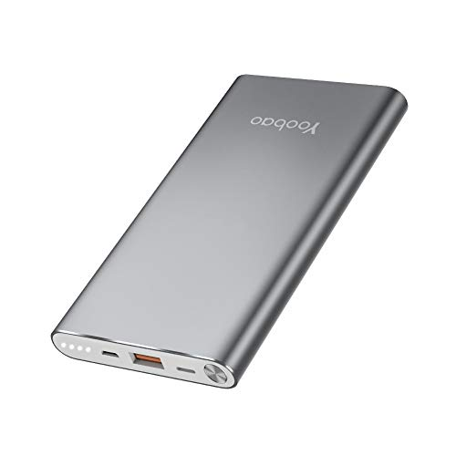 Yoobao Portable Charger 10000mAh Slim Power Bank Powerbank External Cell Phone Battery Backup Charger Battery Pack with Dual Input Compatible iPhone X 8 7 Plus Android Samsung Galaxy More - Gray