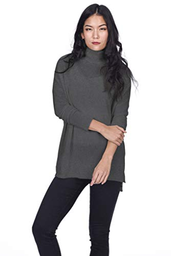 State Cashmere Women's 100% Pure Cashmere Tunic Turtleneck Sweater (X-Large, Charcoal)
