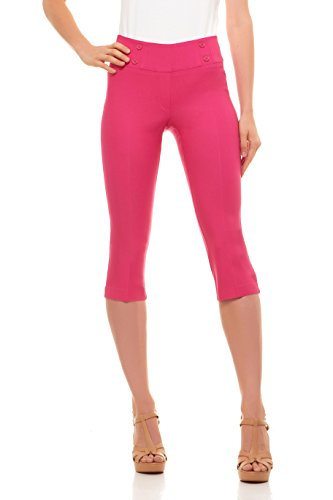 Velucci Womens Classic Fit Capri Pants - Comfortable Pull On Style with Detailed Design, Exotic Pink-S