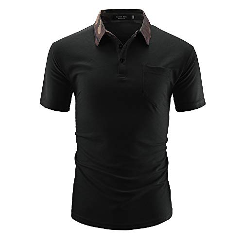 LUOBM Polo Shirt Big and Tall Short Sleeve Stretch Casual Stripe for Men(Black,L) ()